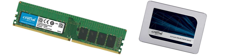 Memoria e SSD Crucial.