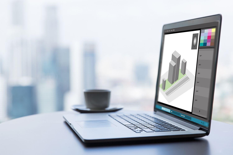Un portatile per il lavoro di graphic design