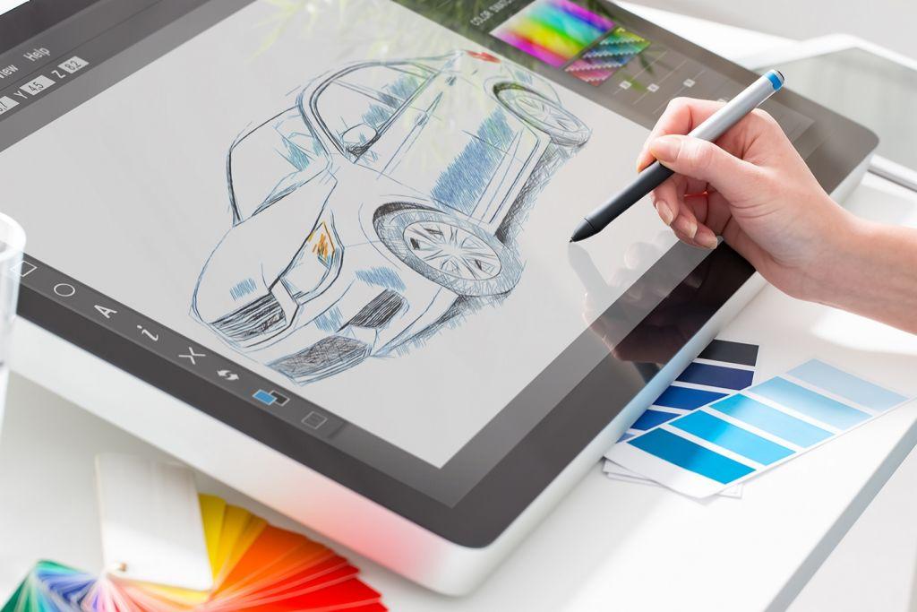 Graphic design con tablet da disegno