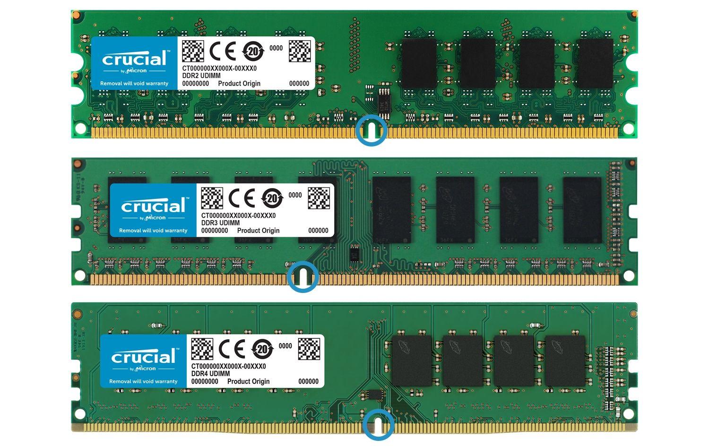 Tre generazioni di moduli di memoria RAM Crucial sono posizionati uno accanto all'altro per evidenziare le differenze nella forma fisica della memoria in ogni generazione