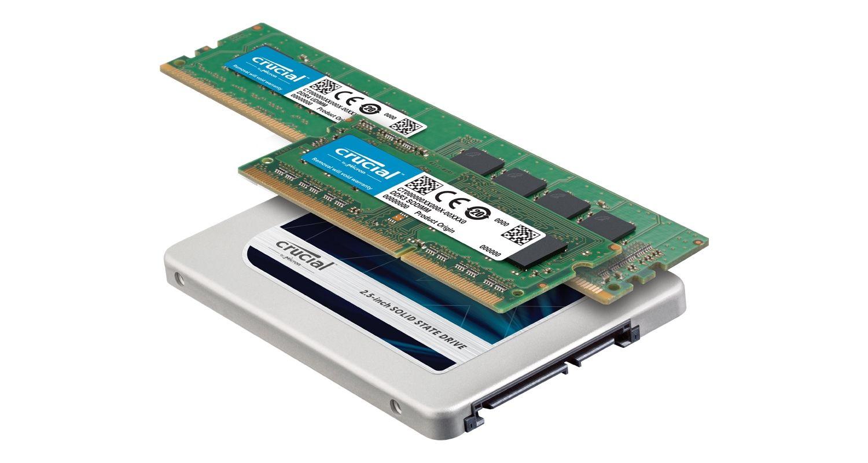 Moduli di memoria RAM e SSD Crucial
