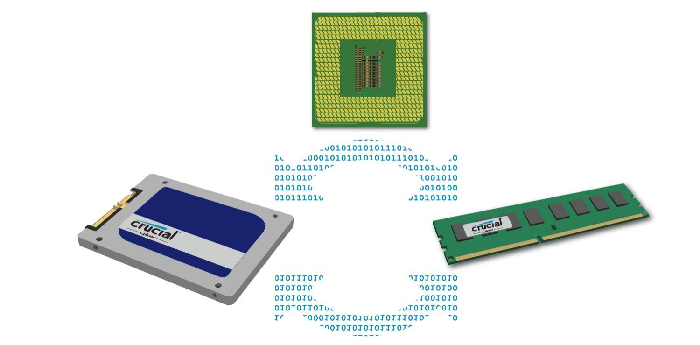 Come i dati, la CPU, l'unità di archiviazione e la memoria lavorano insieme.