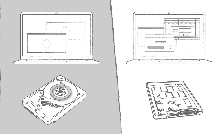 Un'illustrazione che mostra i benefici di un SSD rispetto a un disco rigido in termini di tempi di caricamento dei programmi del computer