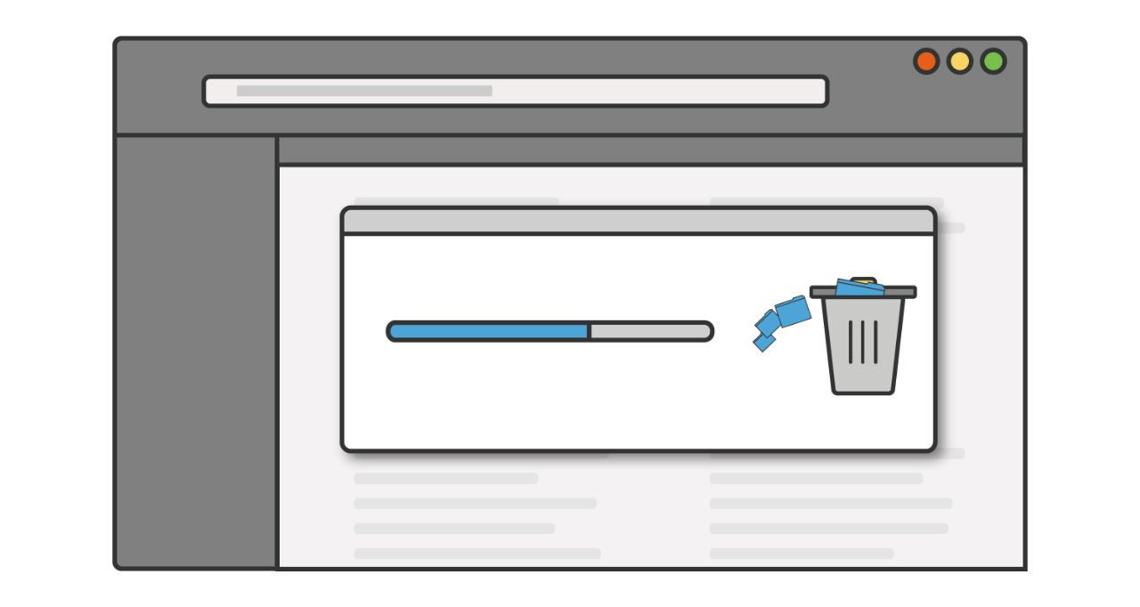 Illustrazione di una barra di avanzamento mentre programmi o applicazioni inutilizzate sono eliminati da un computer