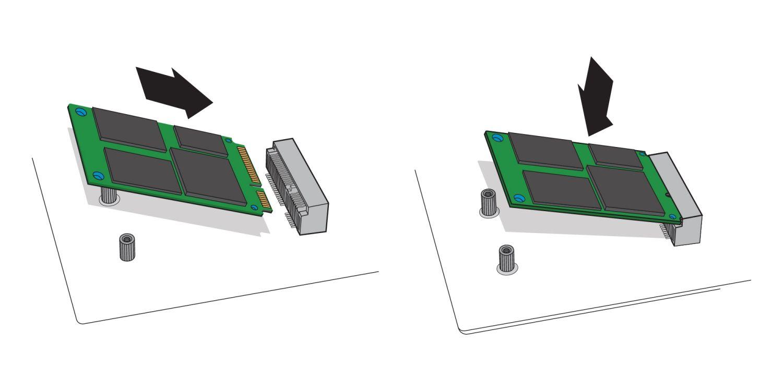 Un'illustrazione che mostra come l'SSD mSATA è inserito in un socket mSATA sulla scheda madre di un computer desktop