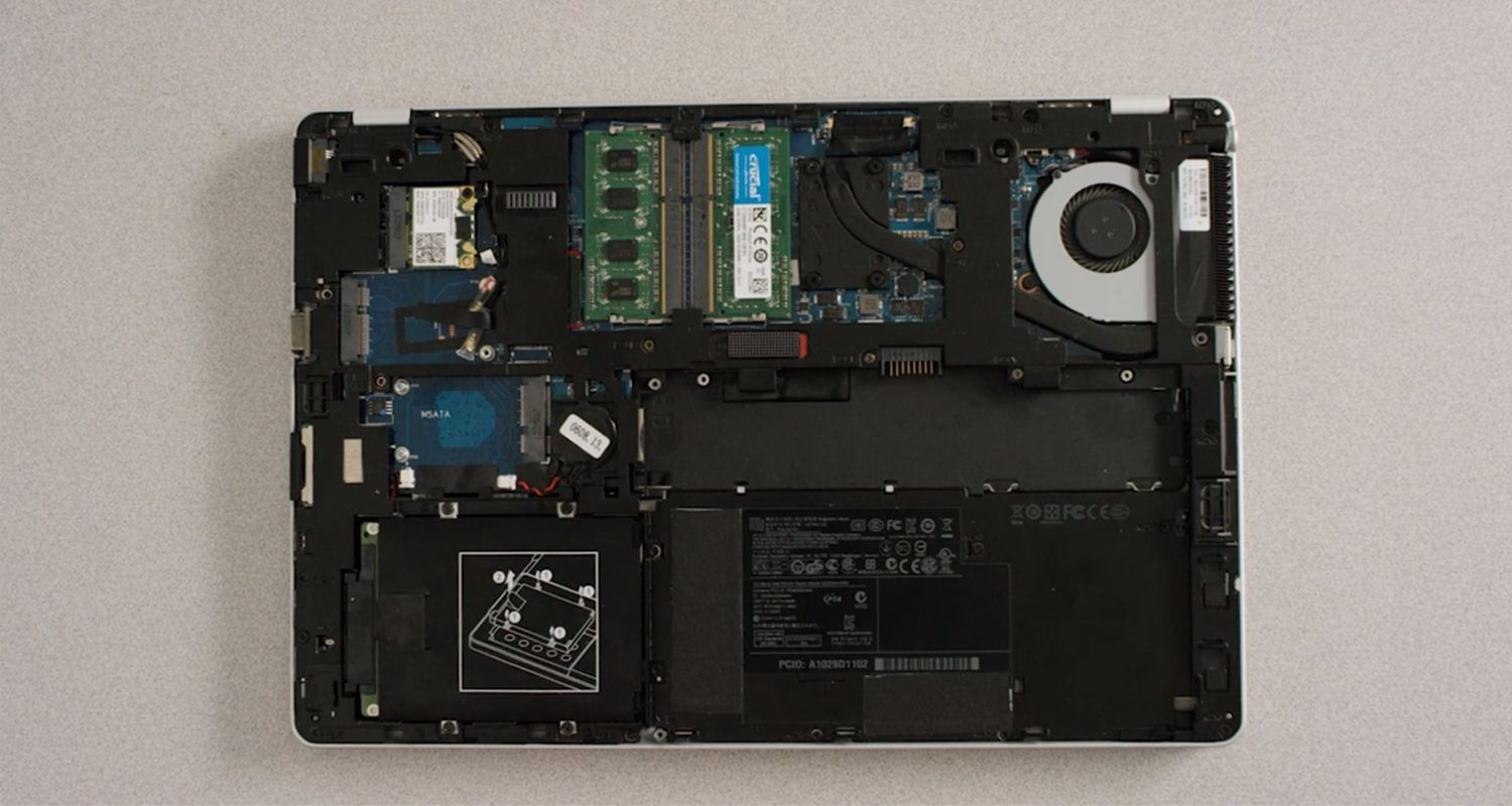 Interior of a laptop with its case removed
