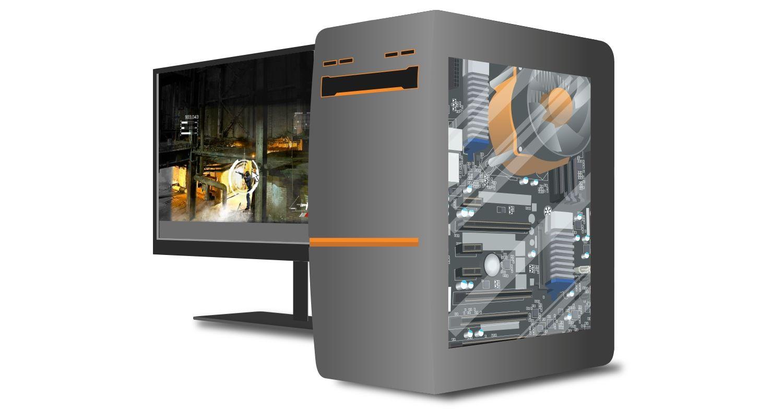 Un computer e monitor da gaming che mostrano un gameplay