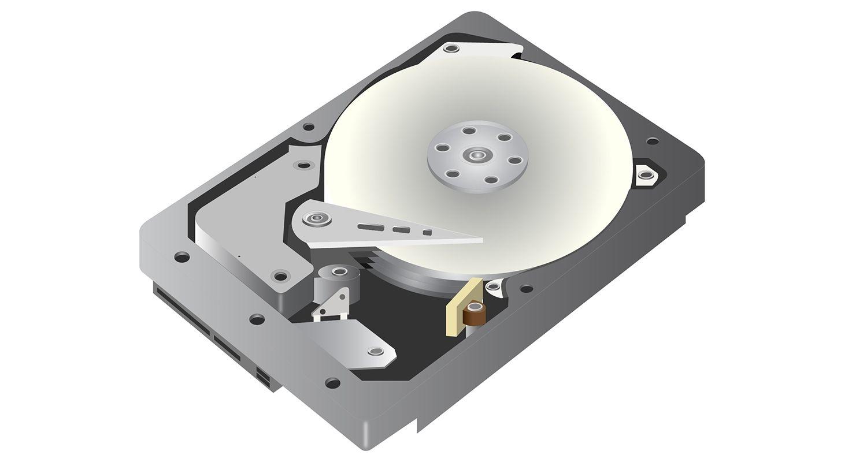 Un'illustrazione grafica vettoriale di un'unità disco (hdd) su sfondo bianco
