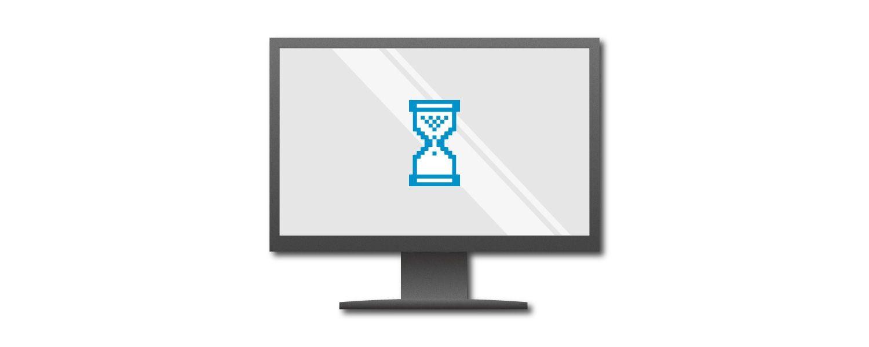 Grafica dello schermo di un computer che mostra un timer a forma d'uovo