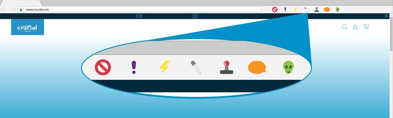 Un'illustrazione delle estensioni per browser nella finestra di un browser