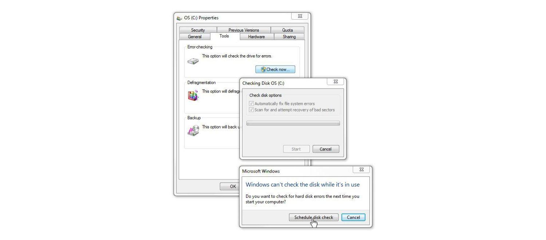 Finestra Controllo disco di Windows 7