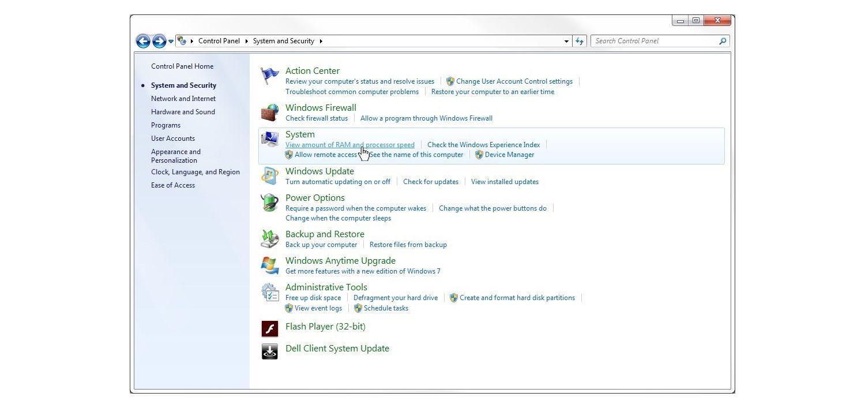 Finestra Sistema & Sicurezza di Windows 7