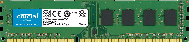 Memoria RAM Crucial per computer isolata su sfondo bianco